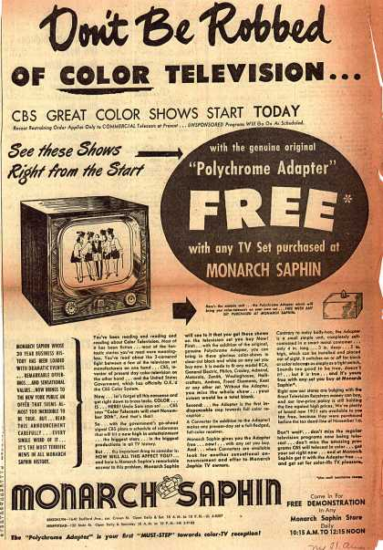 Monarch Saphin's Color Television – Don't Be Robbed of COLOR TELEVISION (1950)
