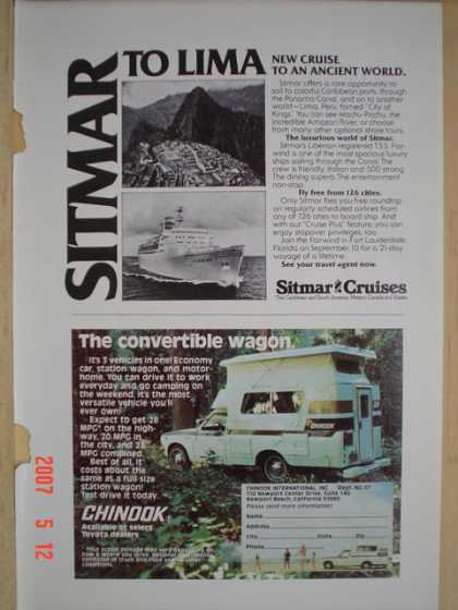 Chinook camper The convertible wagon AND Sitmar Cruises (1977)
