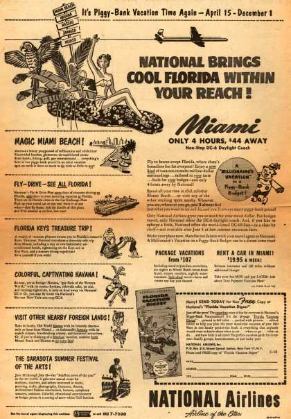 National Airline's Miami – National Brings Cool Florida Within Your Reach (1953)