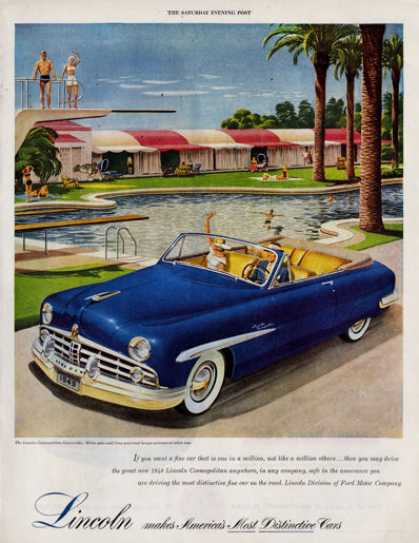 Lincoln Cosmopolitan Convertible Pool Print (1949)