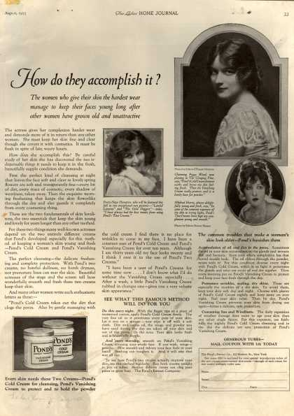 Pond's Extract Co.'s Pond's Cold Cream and Vanishing Cream – How do they accomplish it? (1923)