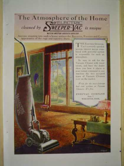 Pneuvac Company Electric Sweeper Vac AND Columbia Grafanola (1920)