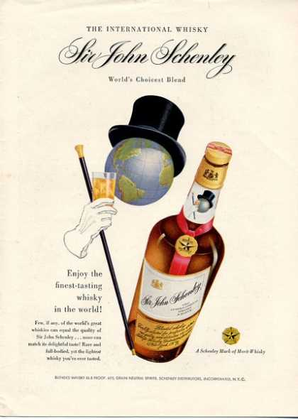 Sir John Schenley Whisky Bottle (1951)
