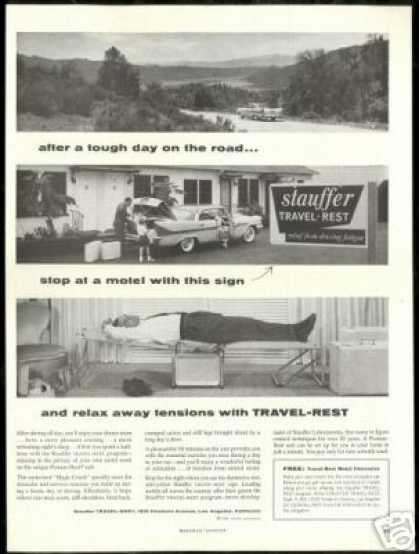 Stauffer Travel Rest Motel Room Vintage Photo (1958)