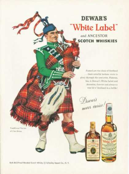 Dewar&#8217;s White Label Scotch Ad Bruce Clan Bag Pipes (1959)