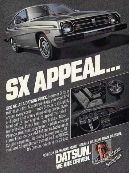 "Datsun 200sx Nice Glamour Ad ""Sx Appeal"" (1978)"