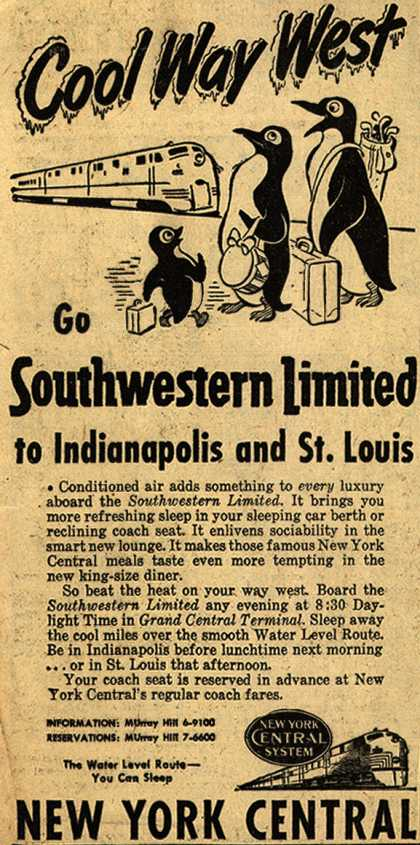 New York Central System's Southwestern Limited – Cool Way West, Go Southwestern Limited to Indianapolis and St. Louis (1952)