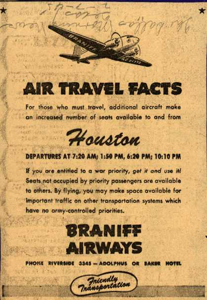 Braniff Airway's Houston – AIR TRAVEL FACTS (1945)