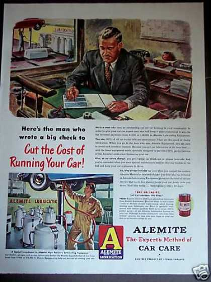 Alemite Car Care Auto Lubricant Art (1948)