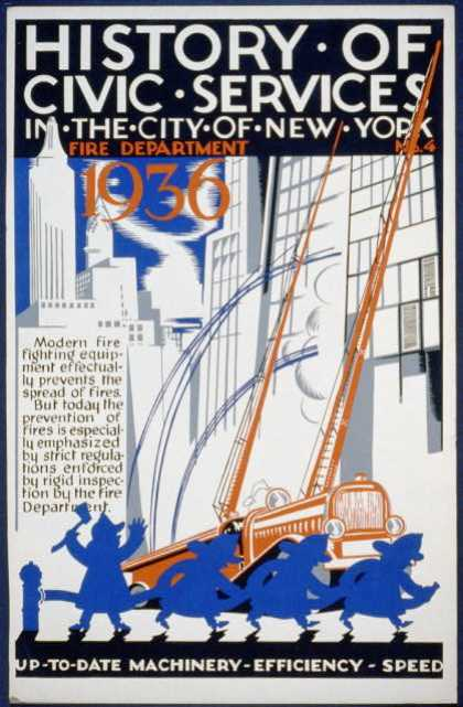 History of civic services in the city of New York – Fire Department No. 4 – Up-to-date machinery, efficiency, speed. (1936)