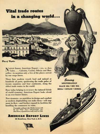 American Export Line's various – Vital trade routes in a changing world... (1947)