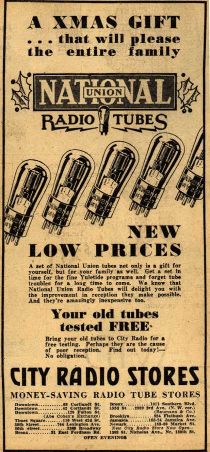 National Union Radio Tube&#8217;s Radio Tubes &#8211; A Xmas Gift... that will please the entire family, National Union Radio Tubes, New Low Prices (1930)