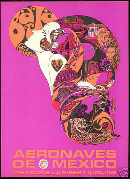 Aeronaves De Mexico Airlines Pink Bride Art (1969)