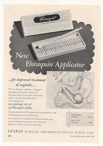 Searle Vaginitis Floraquin Applicator Trade (1955)