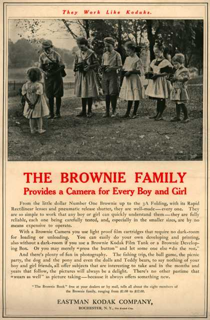 Kodak's Brownie cameras – They Work Like Kodaks. The Brownie Family Provides a Camera for Every Boy and Girl (1909)