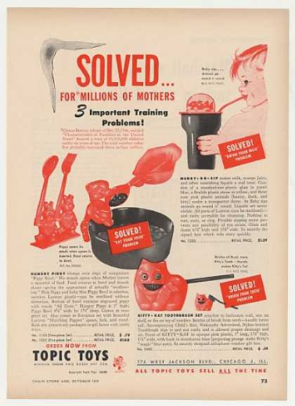 Topic Toys Merry-Go-Sip Hungry Piggy Kat Trade (1949)