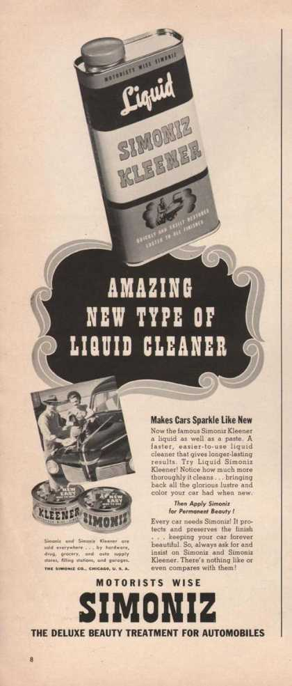 Motorists Wise Simoniz Liquid Cleaner (1941)