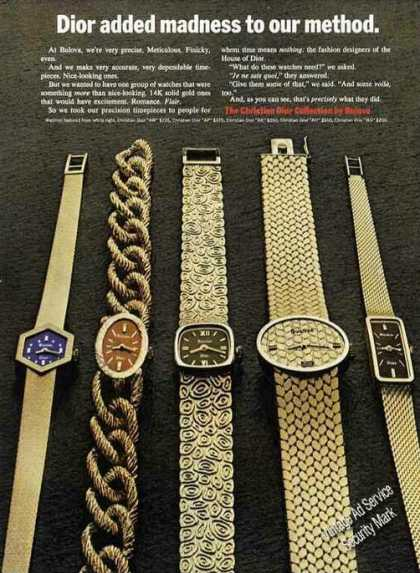 Christian Dior Collection Bulova Wristwatches (1971)
