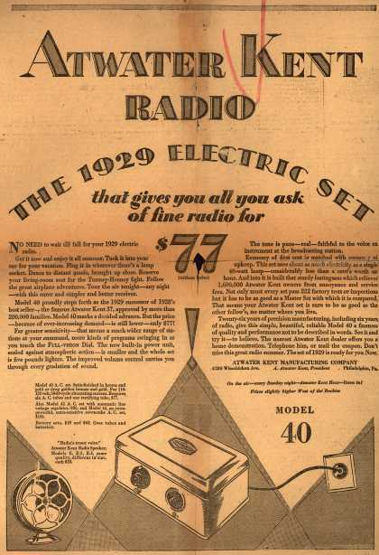Atwater Kent Manufacturing Company's Atwater Kent Radio, Model 40 – Atwater Kent Radio the 1929 Electric Set that gives you all you ask of fine radio for $77 (1928)