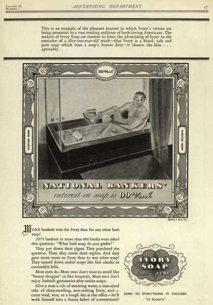Procter & Gamble Co.'s Ivory Soap – National Bankers' interest in soap is 99 44/100% (1932)