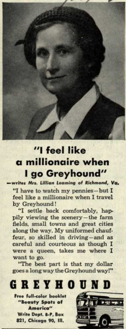 "Greyhound – ""I feel like a millionaire when I go Greyhound."" (1952)"
