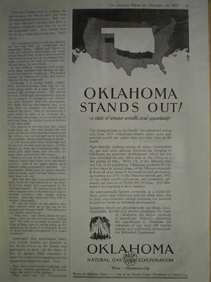 Oklahoma Natural Gas Corporation. Oklahoma stands out (1929)