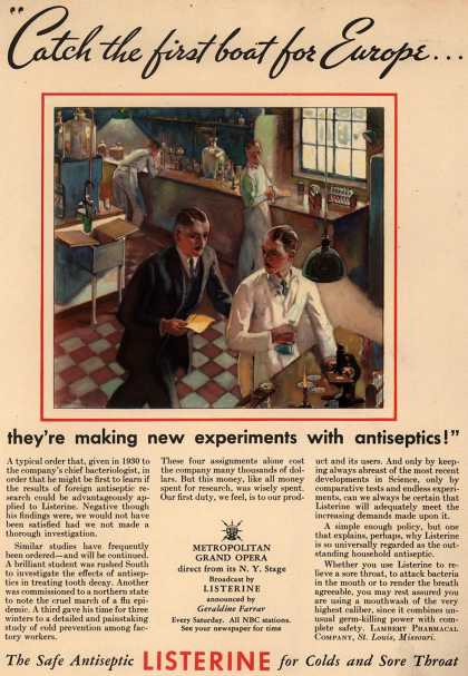 "Lambert Pharmacal Company's Listerine – ""Catch the first boat for Europe... they're making new experiments with antiseptics!"" (1934)"