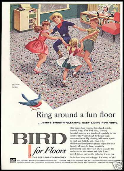 Bird Vinyl Floor Children Playing Vintage (1957)