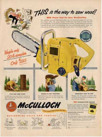 Mcculloch Model 33 Chain Saw Ad T (1953)