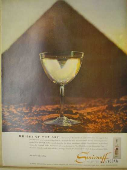 Smirnoff Vodka. Driest of the dry. Pyramid theme (1957)
