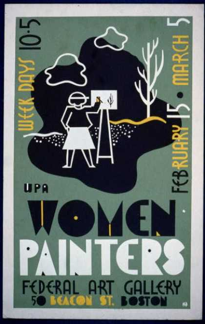 WPA women painters, Federal Art Gallery, 50 Beacon St., Boston / RW(?) [monogram]. (1936)