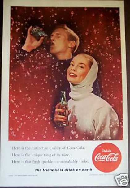 Man and Woman With Coke & Bubbles Coca-cola (1956)