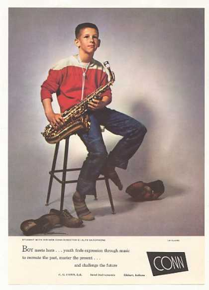 Conn Director E Alto Saxophone Boy Photo (1958)