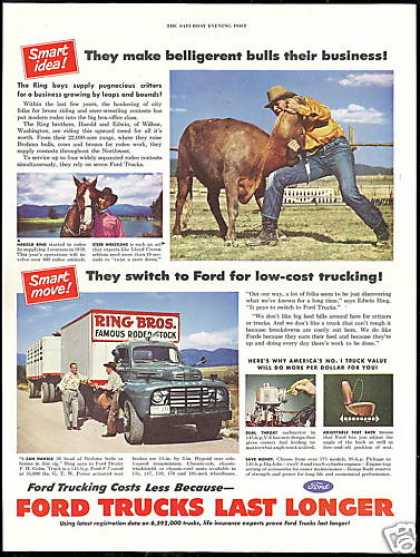 Ford Truck Rodeo Ring Brothers Steer Wrestling (1950)