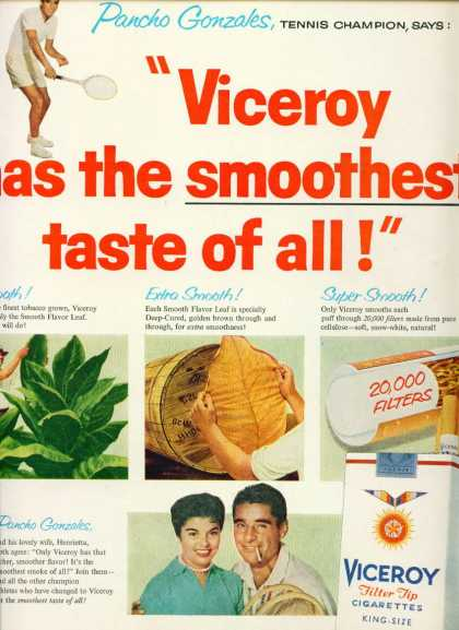 Viceroy Filter Tip Cigarettes W Pancho Gonzales (1957)