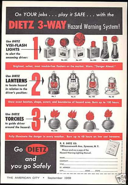 Dietz Warning System Lights Torch Lanterns (1959)