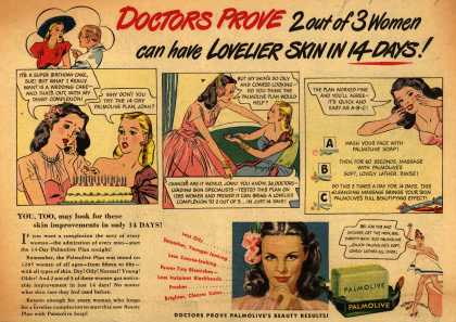 Palmolive Company's Palmolive Soap – Doctors Prove 2 out of 3 Women can have Lovelier Skin in 14 DAYS (1946)