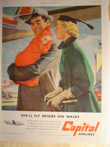 "Capital Airlines ""Husband and Wife with Baby"" & Lewyt (1952)"