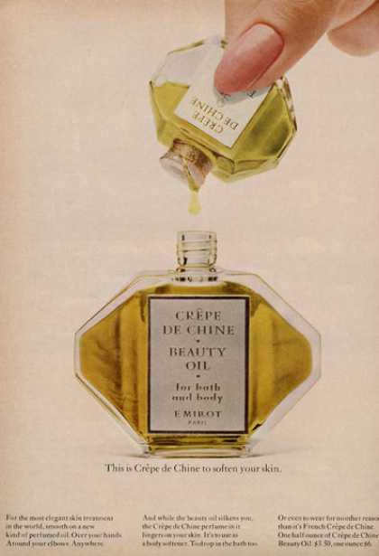 Crepe De Chine Beauty Oil Bottle Print (1966)