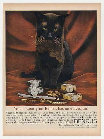 Benrus Watch 7 Styles Watches Black Cat Photo (1960)