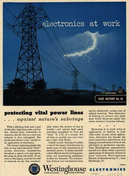 Westinghouse Electric & Manufacturing Company's Corporation – electronics at work, protecting vital power lines (1943)