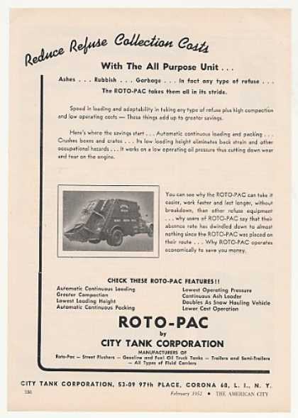 City Tank Roto-Pac Refuse Garbage Truck (1952)