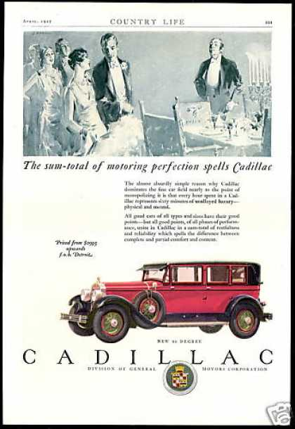 Cadillac Car Motoring Perfection Vintage (1927)