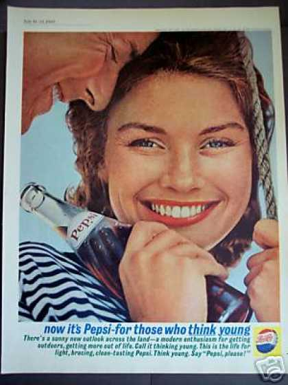 Smiling Woman Pepsi Cola Think Young Photo (1962)