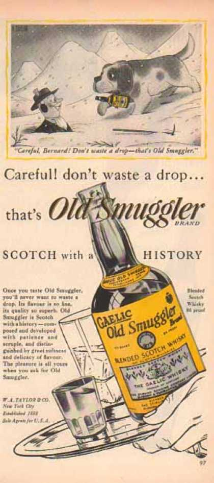 Old Smuggler Scotch – Saint Benard, Careful Bernard! – Sold (1949)