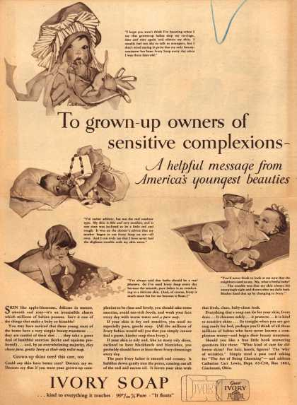Procter & Gamble Co.'s Ivory Soap – To grown-up owners of sensitive complexions-A helpful message from America's youngest beauties (1934)