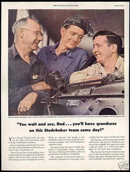 Studebaker Car Factory Father Sons Photo (1949)