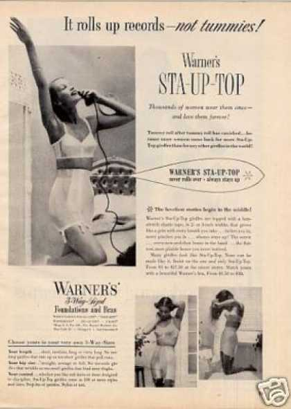 "Warner's Girdle Ad ""It Rolls Up Records... (1951)"