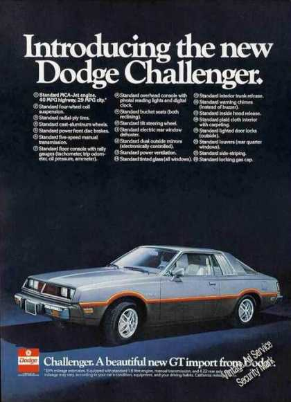 Introducing the New Dodge Challenger (1978)