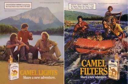 Camel Cigarettes Ads – Set of 2 Sport Adventure Ads (1986)